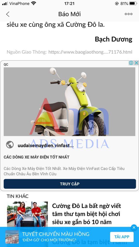 Quảng cáo Zalo hiển thị dưới cuối bài viết