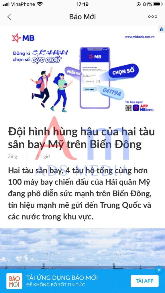 Quảng cáo Zalo hiển thị đầu bài viết nên Network